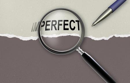 positiveness: cambiando la palabra imperfecta para el vidrio perfecto y de aumento hecho en software 2d
