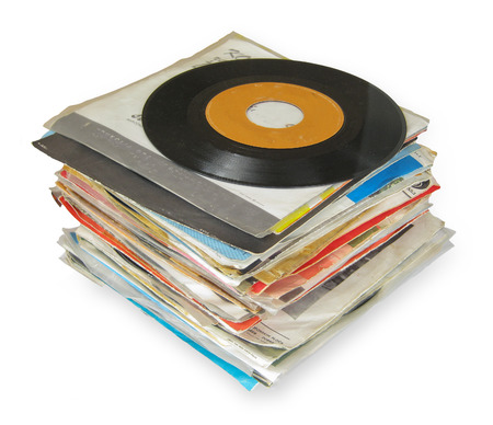 remix: Close up of Old Vinyl Records isolated on white