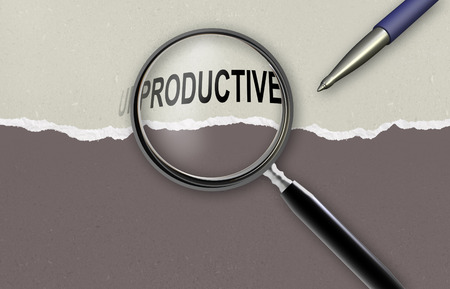 changing the word Unproductive for Productive and magnifying glass made in 2d software photo