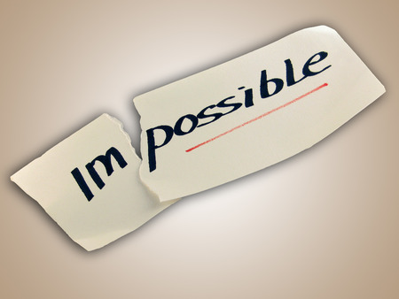transformed: Word impossible transformed into possible. Motivation philosophy concept