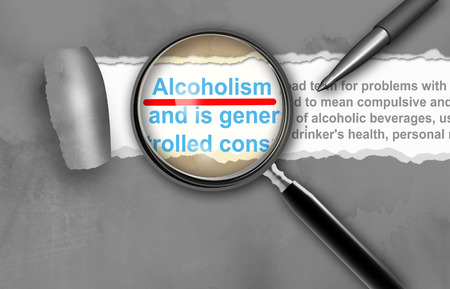 delirium: Close-up of alcoholism  with pen on it
