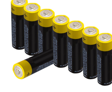 virtual reality simulator: batteries  isolated on white background Stock Photo