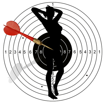 Shooting target, with holes pierced by bullets made in 2d software photo