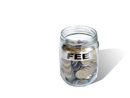 honorarios: dinero de los ahorros de honorarios en el vaso hecho en software 2d Foto de archivo