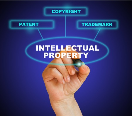 lawer: Presentation of protection of intellectual property Stock Photo