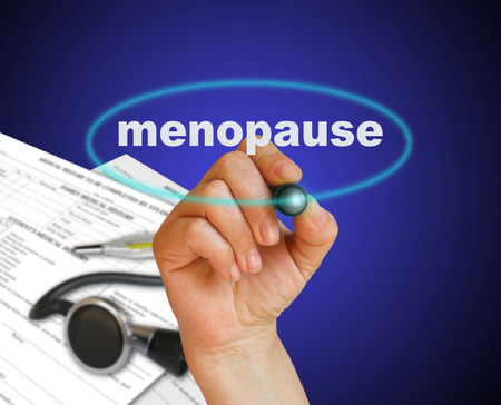 testosterone: writing word  MENOPAUSE with marker on gradient background made in 2d software