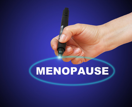 estrogen: writing word  MENOPAUSE with marker on gradient background made in 2d software