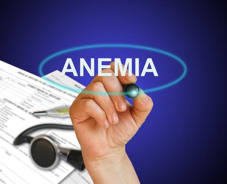 anaemia: escribir la palabra Anemia con marcador