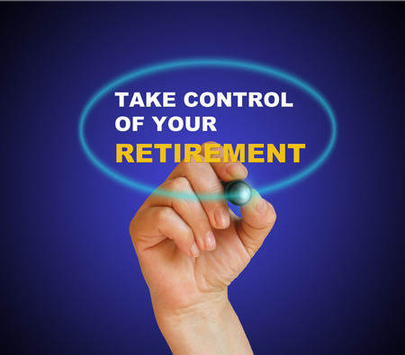 writing  words  take control of your retirement on gradient  photo