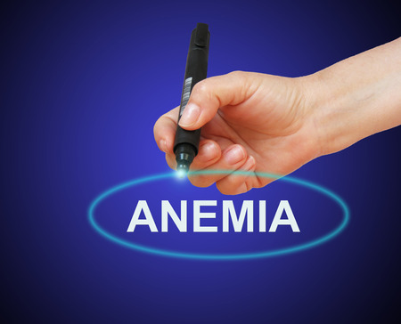 anemia: writing word  Anemia with marker Stock Photo
