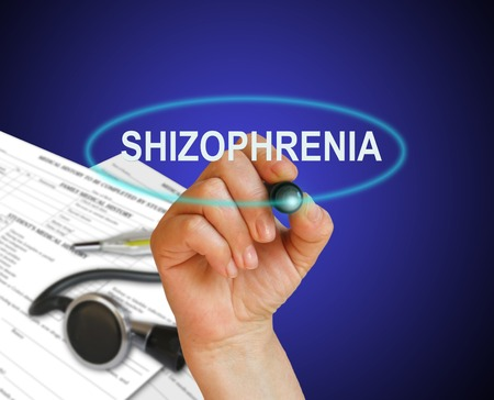 esquizofrenia: escribir la palabra esquizofrenia con marcador