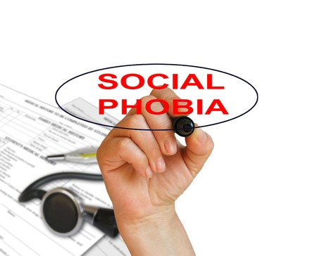 writing word Social phobia disorder with marker on white  background made in 2d software Stock Photo