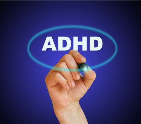 writing word adhd with marker on gradient background made in 2d software 版權商用圖片