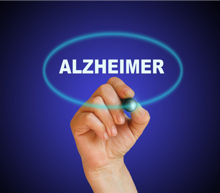 brain aging: writing word ALZHEIMER with marker on gradient background made in 2d software