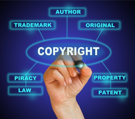 writing word  copyright  with marker on gradient background made in 2d software Stock Photo