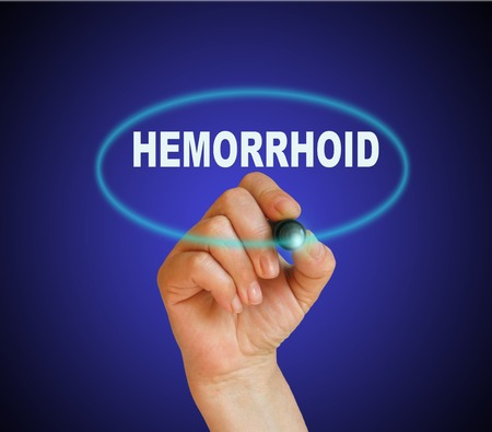hemorrhoid: writing word hemorrhoid with marker on gradient background made in 2d software