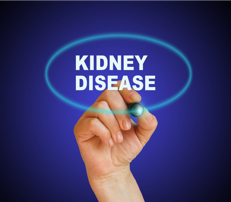 writing word KIDNEY DISEASE with marker on gradient background made in 2d software Stock Photo