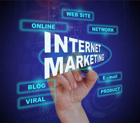 fondo degradado: escribir la palabra INTERNET MARKETING con el marcador en el fondo del gradiente hecho en software 2d