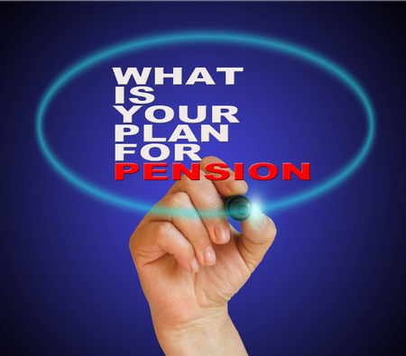 writing  words WHAT IS YOUR PLANE FOR PENSION on gradient background made in 2d software photo