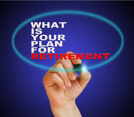 writing  words WHAT IS YOUR PLANE FOR RETIREMENT on gradient background made in 2d software Stock Photo
