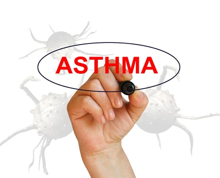 writing word ASTHMA  with marker on white background made in 2d software photo