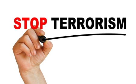 writing words  STOP TERRORISM  on white background made in 2d software photo