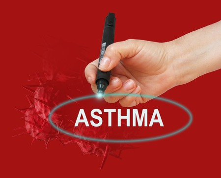 writing word ASTHMA  with marker on red  background made in 2d software photo