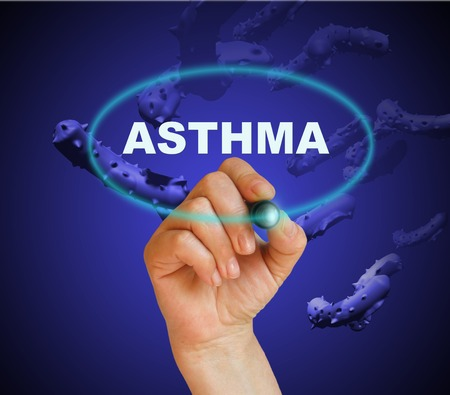writing word ASTHMA  with marker on gradient  background made in 2d software photo