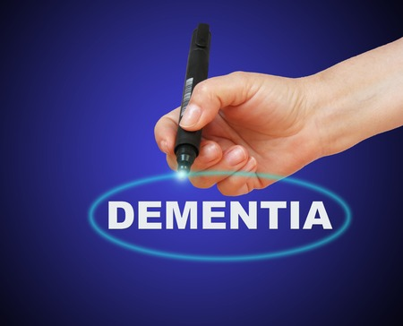 writing word DEMENTIA with marker on gradient background made in 2d software photo