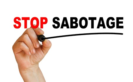 sabotage: writing words  STOP SABOTAGE  on white background made in 2d software Stock Photo