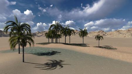 desert oasis: Oasis in the desert made in 3d software Stock Photo