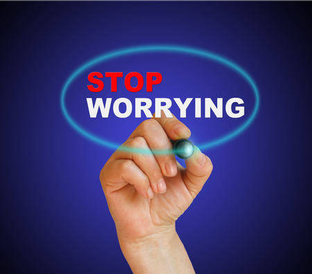 worrying: writing words  STOP WORRYING  on gradient background made in 2d software Stock Photo
