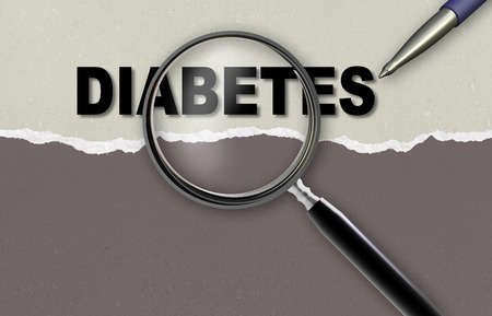 diagnosed: word  DIABETES and magnifying glass with pensil made in 2d software