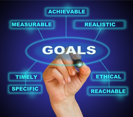 reachable: writing  words GOALS  on gradient background made in 2d software Stock Photo