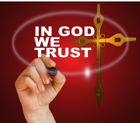 in god we trust: writing word IN GOD WE TRUST with marker on gradient background made in 2d software