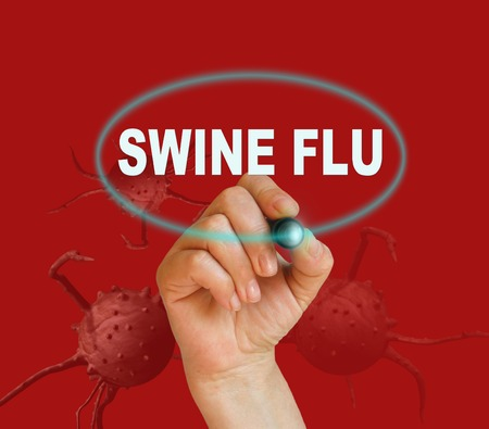 writing word SWINE FLU with marker on red background made in 2d software