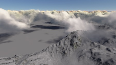 Mountain above the clouds made in 3d software photo