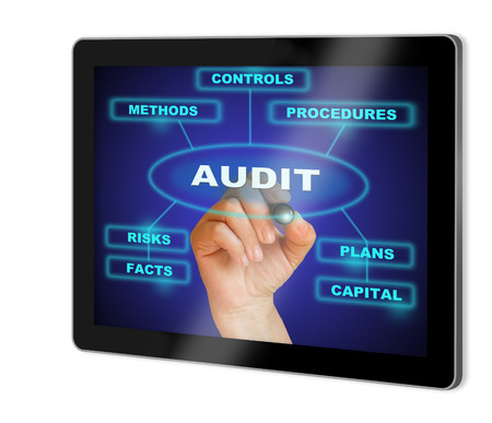 expertize: writing  words AUDIT  show  on tablet  made in 2d software isolated on white