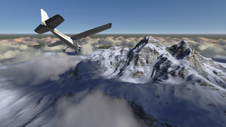 White passenger plane flying in the blue sky above the mountains made in 3d software photo