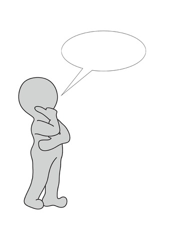 Speech bubble.2D little human character with a Speech bubble. Blank for copy space. photo