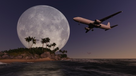 passing over: Airliner passing over palm trees made in 3d software Stock Photo