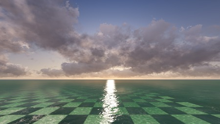 A surreal fantasy landscape of a  checkerplane with  clouds in the horizon. photo