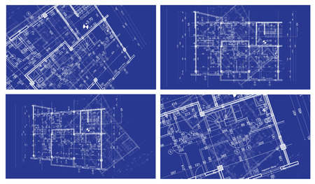abstract architecture background: four  blueprint house plan with sketch ofanother blueprint in background
