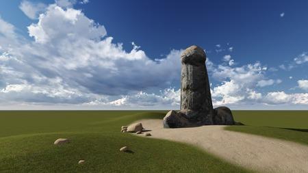 testicles: Piedra la forma de un pene hecha en 3D