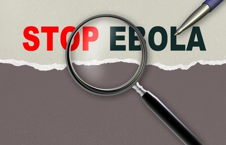 word STOP EBOLA  and magnifying glass with pencil made in 2d software photo