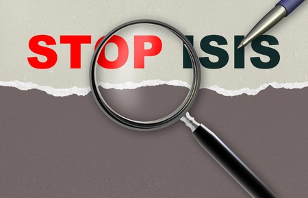 word STOP ISIS   and magnifying glass with pencil made in 2d software 版權商用圖片