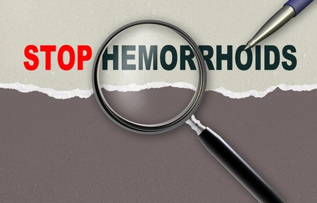 rectum cancer: word STOP HEMORRHOIDS  and magnifying glass with pencil made in 2d software