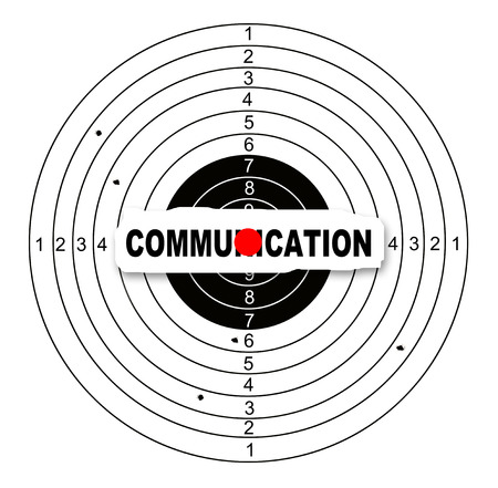reach out: Shooting target with word communication made in 2d software