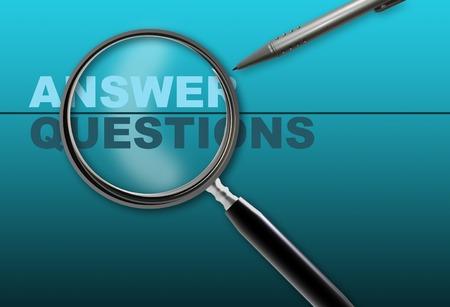 answer question: risposta parola - domanda e lente di ingrandimento con la matita realizzato in 2d software su sfondo sfumato