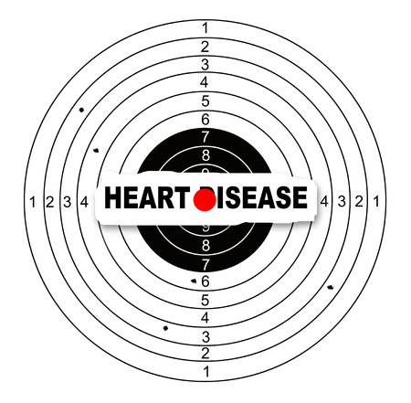 heart disease: Shooting target with word heart disease made in 2d software Stock Photo
